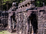 Protruding elephant heads along the Terrace of Elephants