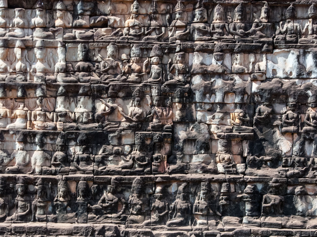 Intricate stone carvings to deities along the Terrace of Leper King
