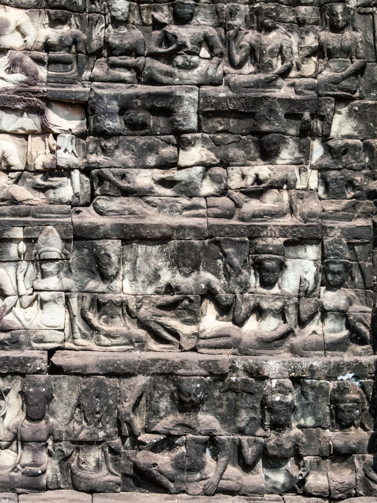 Deities carved in stone along the Terrace of the Leper King