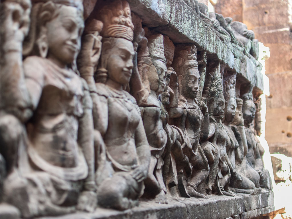 Close up of statues along the Terrace of the Leper King