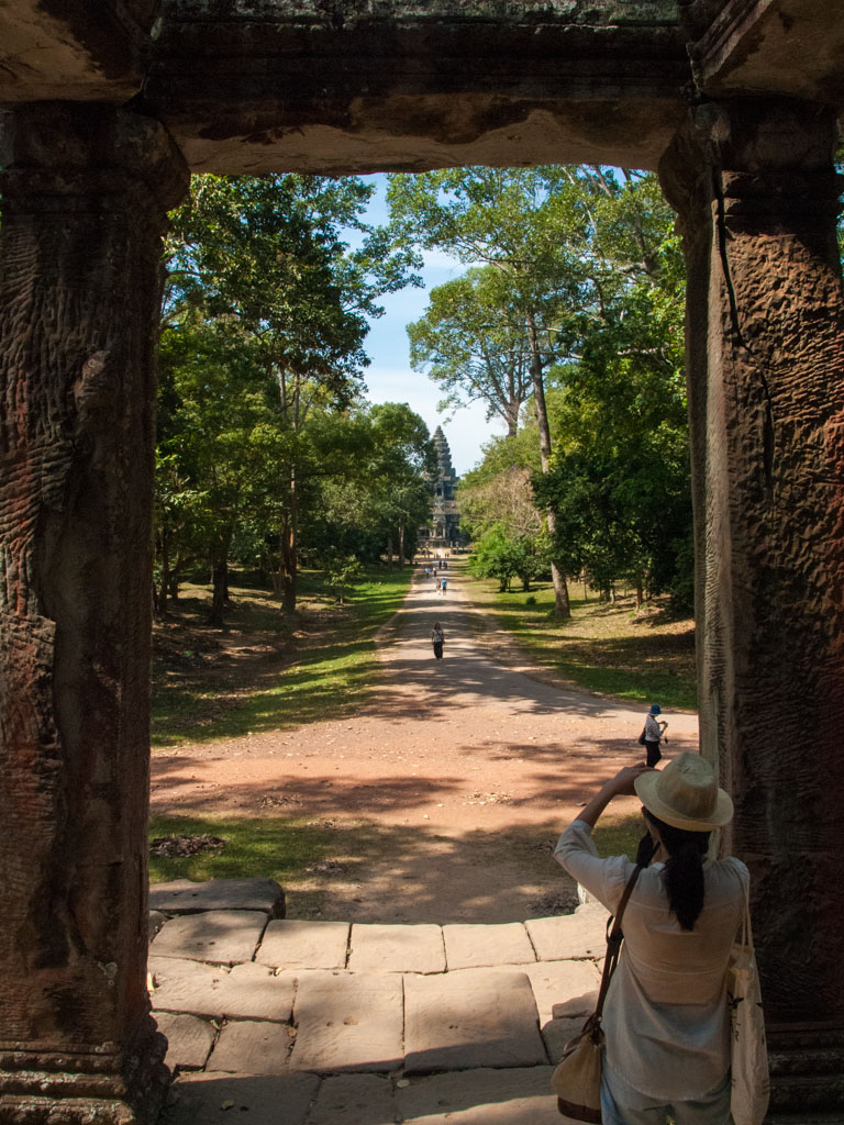 Outer entrance Eastern wall of Angkor watt with Sonya taking a photo