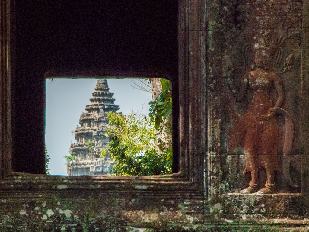 Gopura of Angkor Wat viewed from the windows of the Eastern wall
