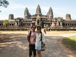 Travis and Sonya at Angkor Wat Eastern entrance