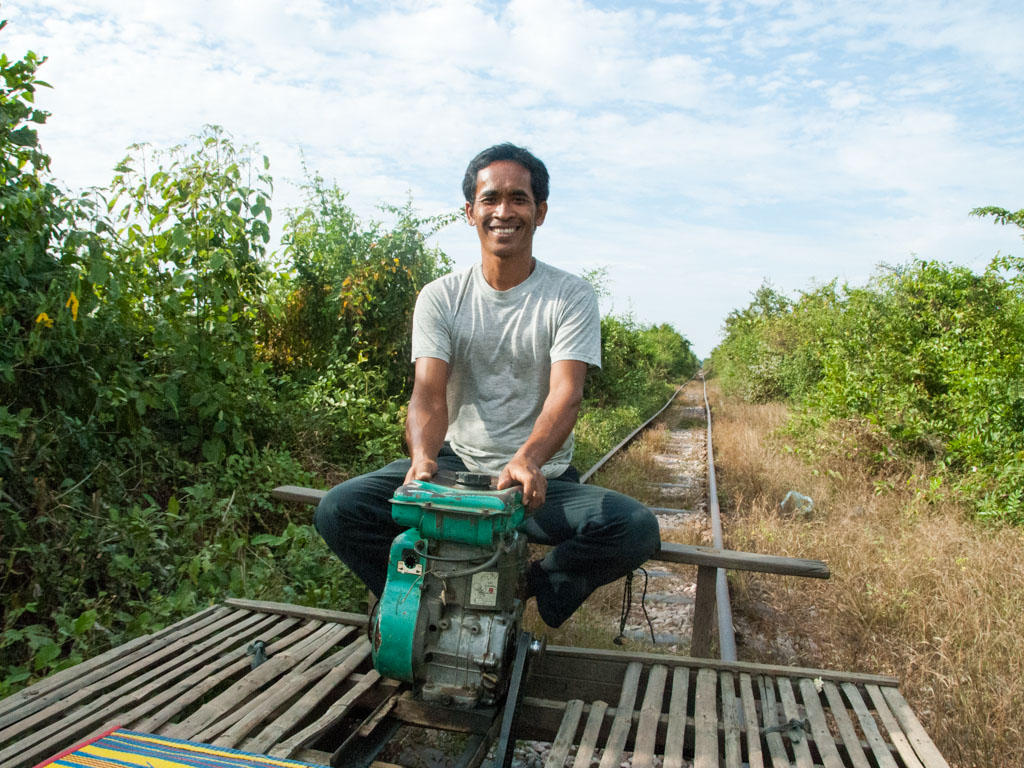 Our driver of the bamboo train