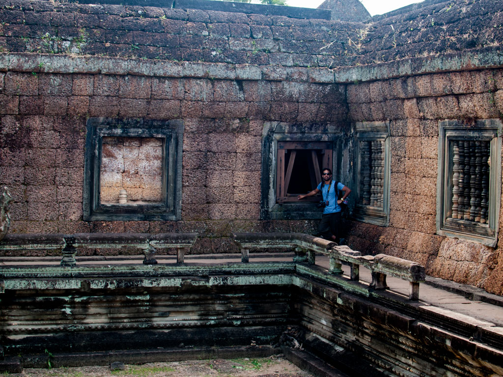Travis at the corner of the inner wall of the temple