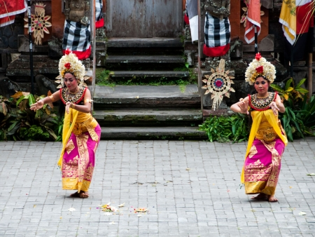 Girl dancers representing the servants of the Rangda