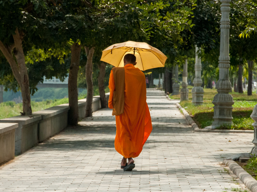 Picturesque monk walking along the Sangker River
