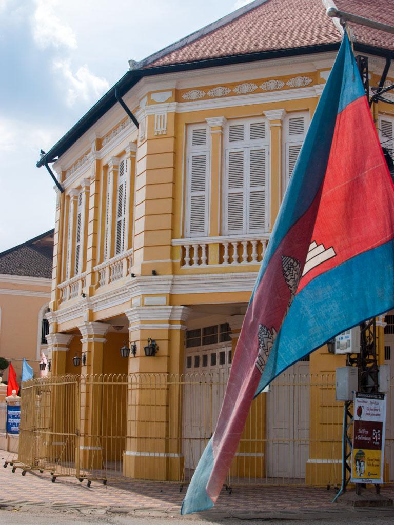Cambodian flag outside Corner Building and Villa