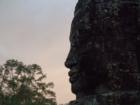 Silhouette of head at sunset
