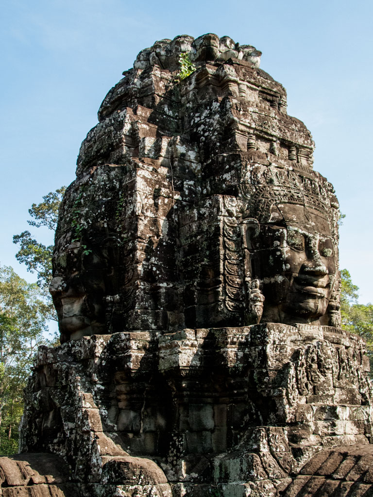 One of the many pillars of heads at Bayon Temple