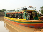 Wooden colourful tour boat