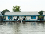 Floating school on Tonle Sap tributary