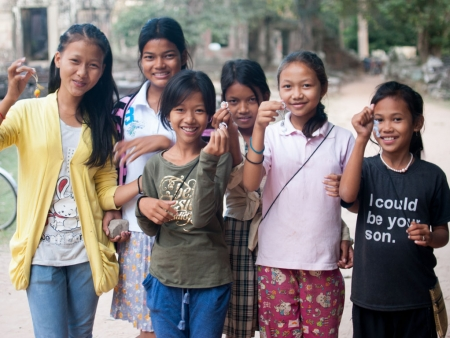 Cambodian children, Angkor Wat, Siem Reap, Cambodia