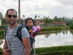 Travis and Farah with the rice paddies in the background
