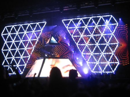 Human after all pyramid lightshow