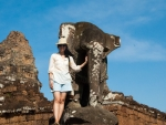Sonya with an Elephant at East Mebon