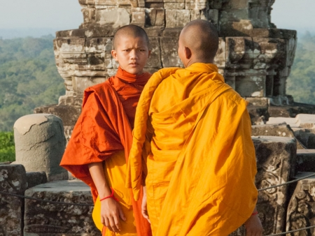 Monks on Phnom Bakheng