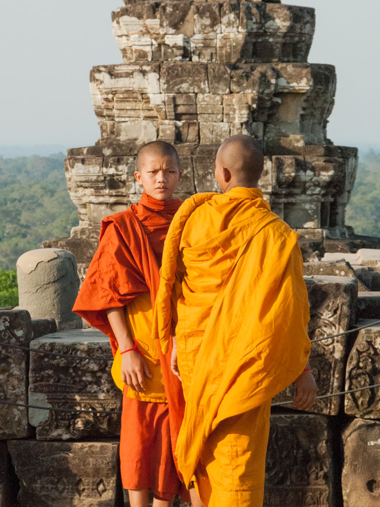 Monks on Phnom Bakheng