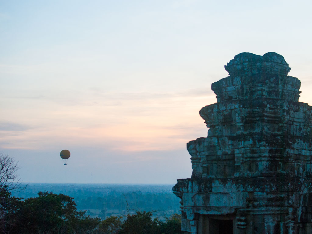 Angkor balloon seen in the sunset