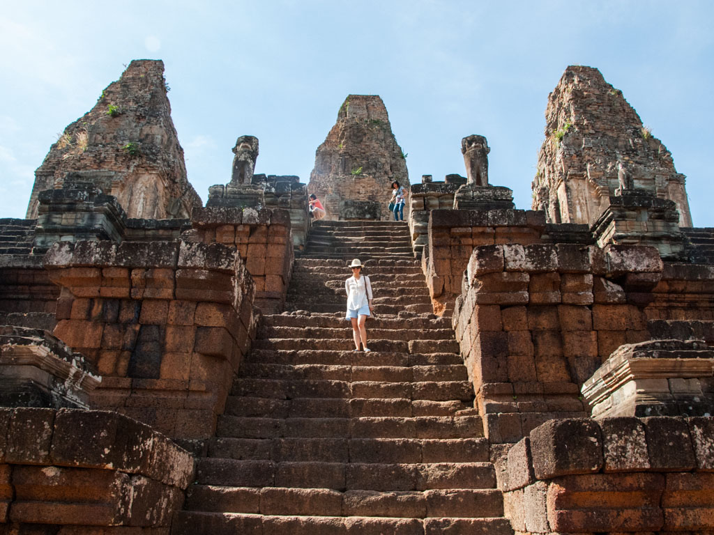 Sonya on the stairs of Pre Rup