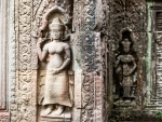Carved goddesses in the stone walls