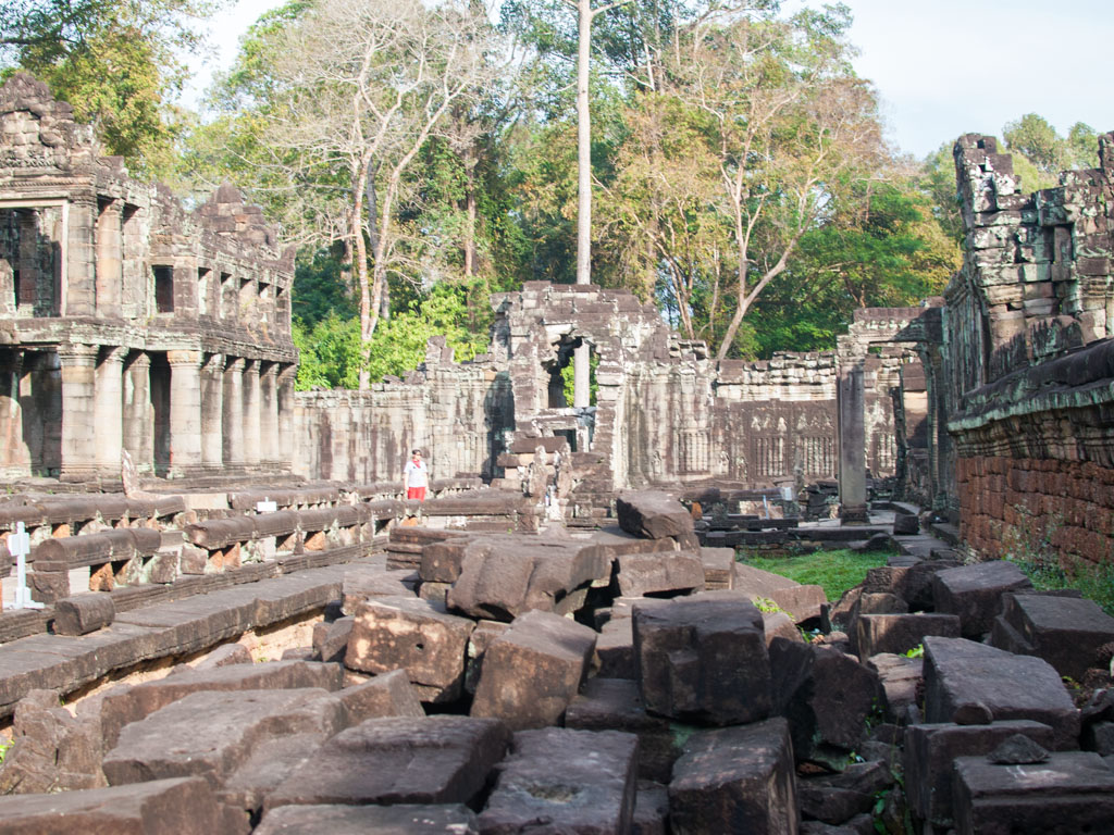 Scattered stone blocks of the ruined temple