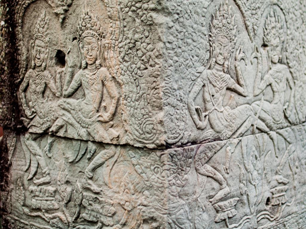 Stone carving Apsara dancing