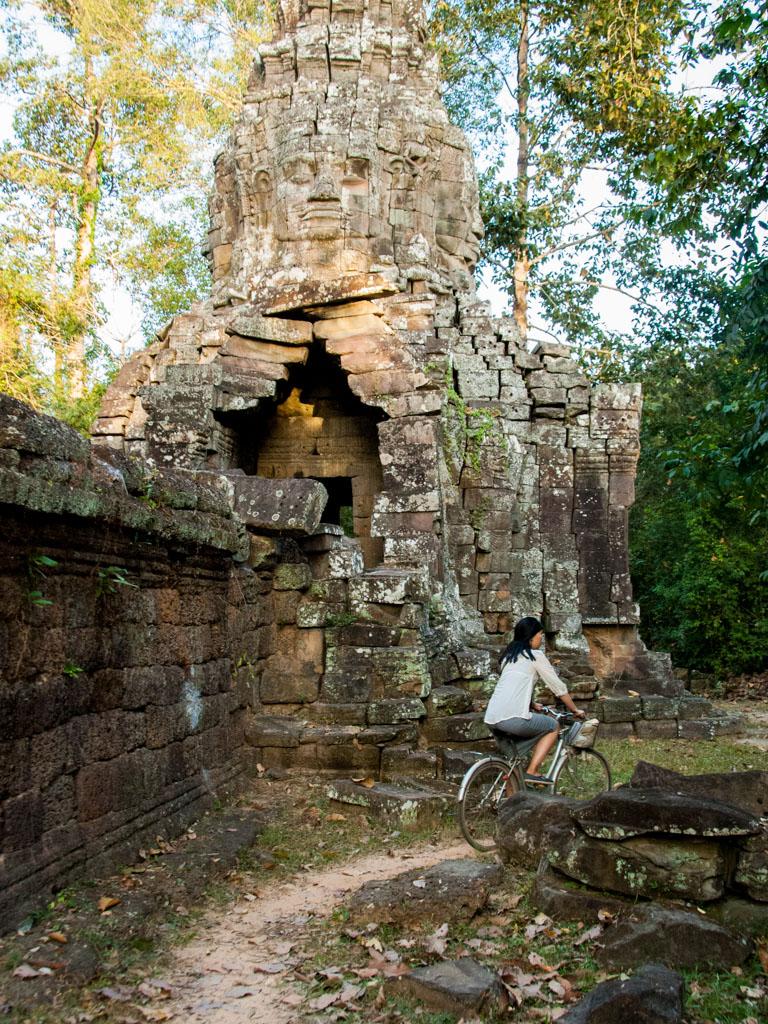 Sonya riding around Banteay Kdei Temple