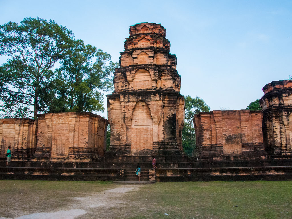 A small 10th-century temple consisting of five reddish brick towers
