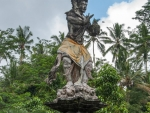 One of the mythical creature statues at the entrance of the Water Temple