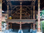 Intricate wooden temple structures