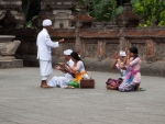 Traditional Balinese prayer at the Temple