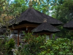 The palm thatched roofs of the temples
