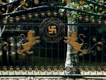 Temple gates, notice the lions and Swastikas