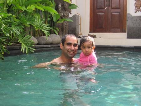 Travis and Farah enjoying the villa's pool