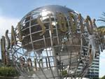 Sonya and the famous Universal Studios globe