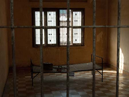 One of the large cells in Building A notice the shackles on the bed