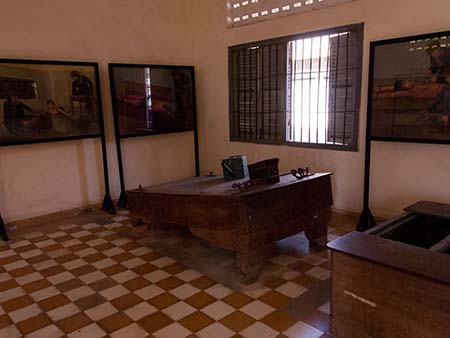 Room of instruments of torture, a water boarding device can be seen