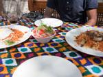 Uzbekistan national staple dishes Laghman and Plov