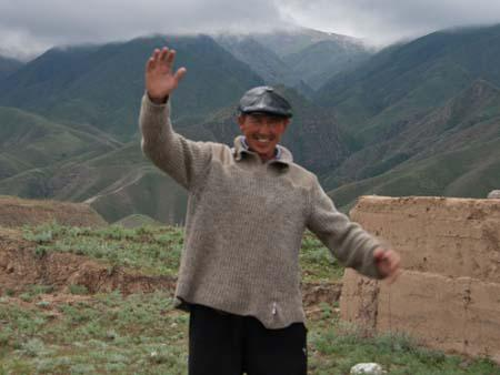 Local Kyrgyz man happy to see us