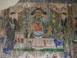 Fresco of traditional Chinese man eating dumplings found inside the City God Temple
