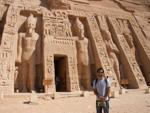 Travis outside the Temple of Hathor and Nefertari
