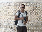 Tourist Travis outside the walls of the Baby Taj