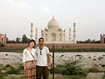 Sonya and Travis with the Taj Mahal in the background