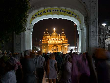 The Golden Temple viewed through the North entrance gate