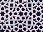 Carved stone screen typical of Mughal architecture