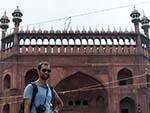 Travis on the main steps leading to Jama Masjid