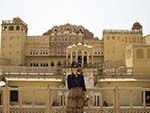 Sonya with the Hawa Mahal in the background
