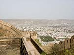 Fortification wall of Nahargarh Fort with Jaipur visible below