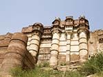 Imposing thick walls of Mehrangarh Fort